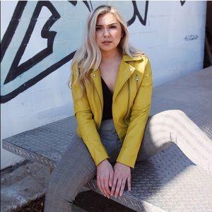 yellow moro jacket faux leather